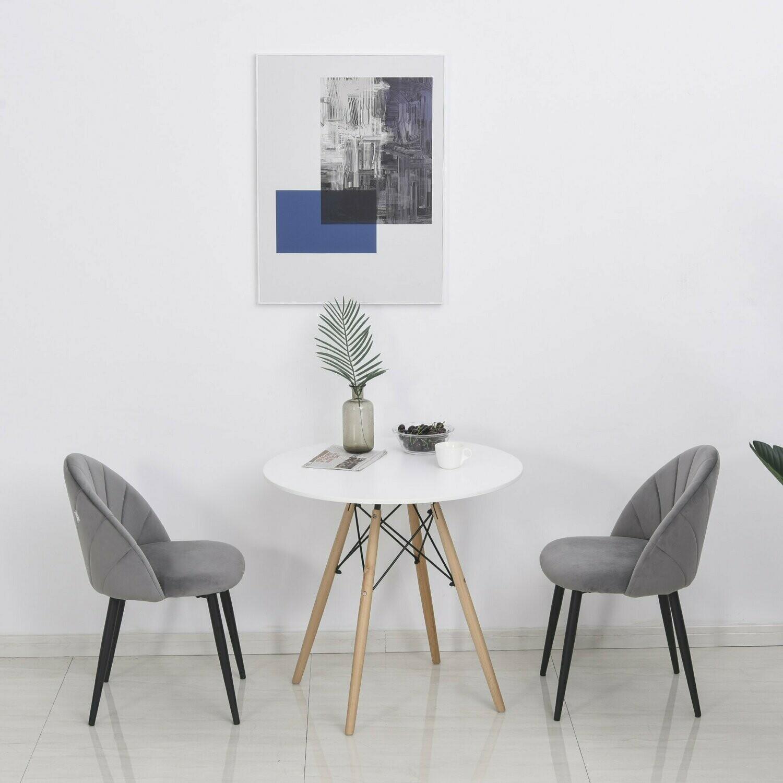 HOMCOM® Esszimmerstühle 2er Set Küchenstuhl Bürostuhl mit Rückenlehne Samt Metall Grau