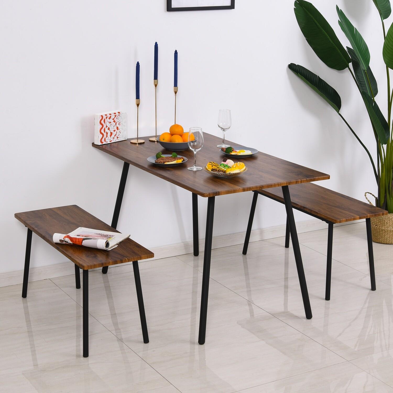 HOMCOM® Essgruppe mit 2 Stühlen Esszimmergarnitur Sitzgruppe Tischgruppe Braun+Schwarz