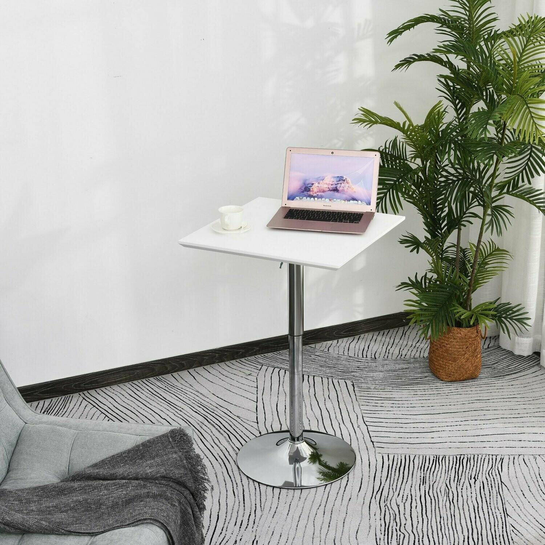HOMCOM® Bistrotisch Pub Bartisch Höhenverstellbarer Quadratischer Stehtisch Tisch Stahl Weiss