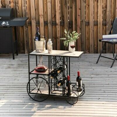 HOMCOM® Servierwagen Weinregal Weinhalter Flaschenregal Standregal Dekoregal für 16 Flaschen Metall