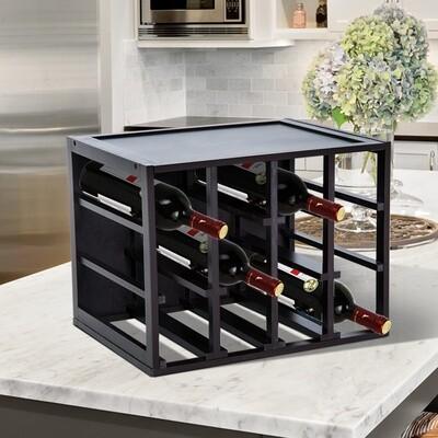 HOMCOM® Weinregal für 12 Flaschen 3 Ebenen Kiefer Braun