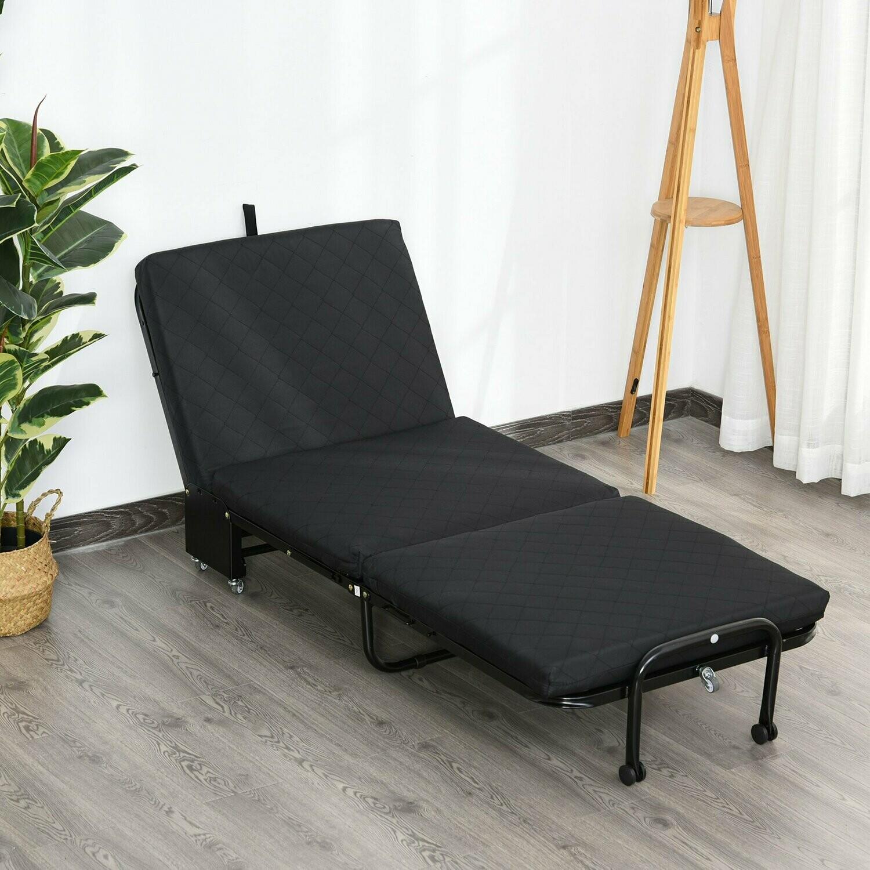 Outlet: HOMCOM® Gästebett klappbar 2-in-1 Klappbett Verstellbare Kopfteilhöhe mit Rollen Schwarz