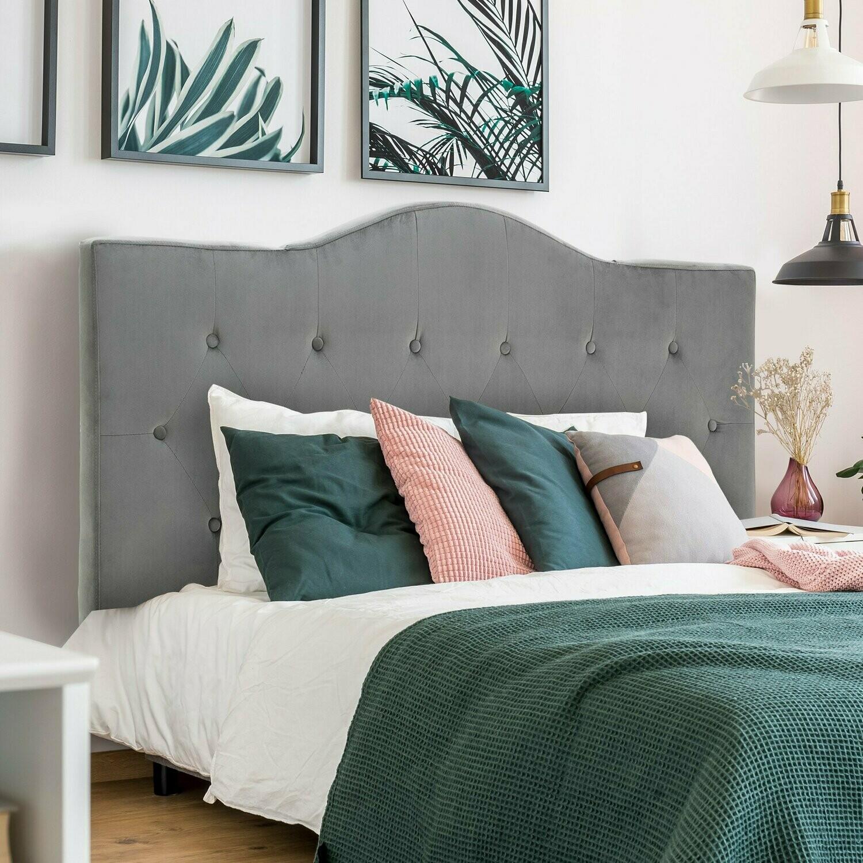 HOMCOM® Kopfteil für Bett gepolstert in grau Pappel Polyester 137x8x134 cm