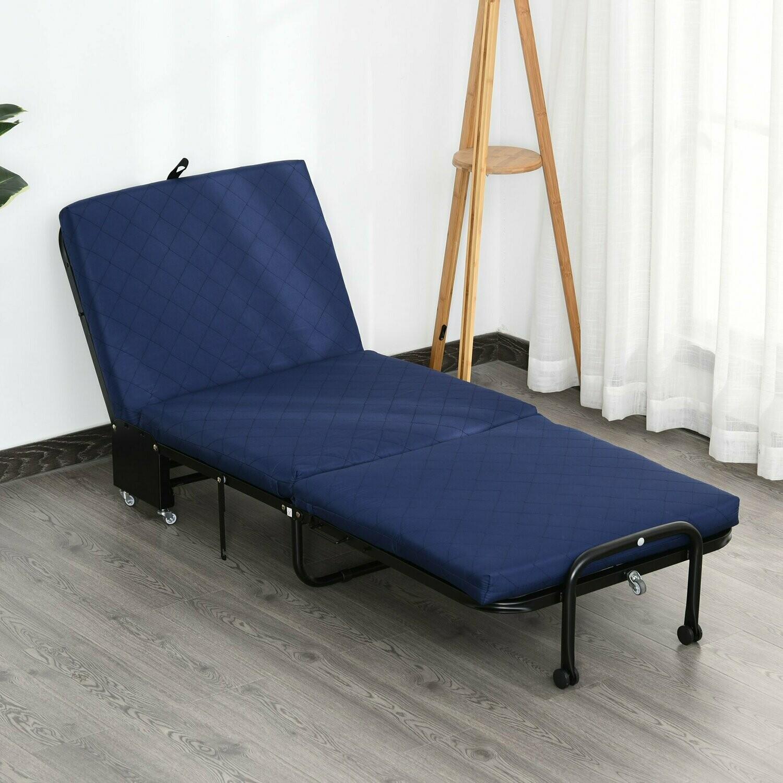 HOMCOM® Gästebett klappbar 2-in-1 Klappbett Verstellbare Kopfteilhöhe mit Rollen Blau