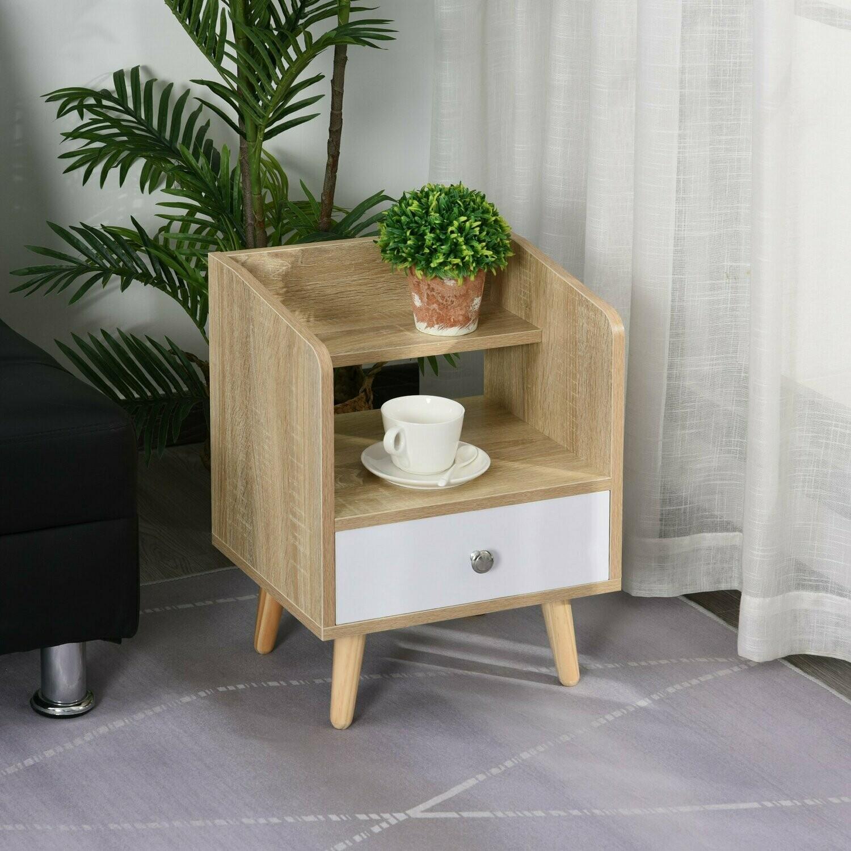 HOMCOM® Nachttisch mit Schublade und Regal Erhöhter Nachtkommode Schlafzimmer Massivholz