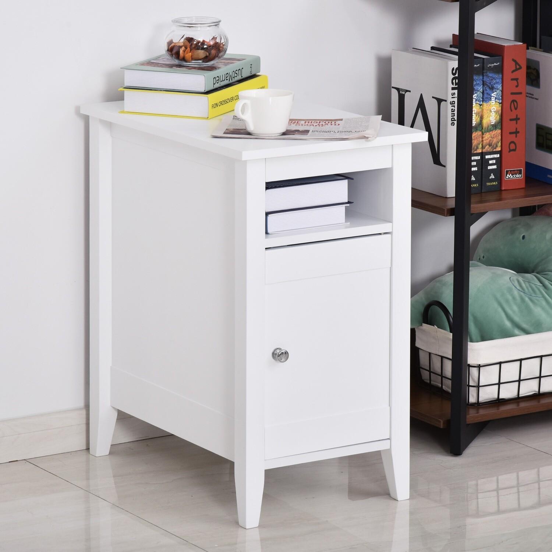 HOMCOM® Beistelltisch Kaffeetisch Nachttisch Couchtisch Standtisch mit Kabinett Weiss