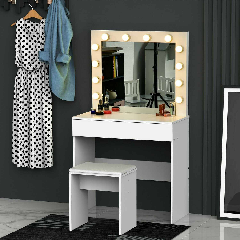HOMCOM® Schminktisch Frisierkommode Kosmetiktisch mit Hocker Spiegel LED-Leuchten Weiss