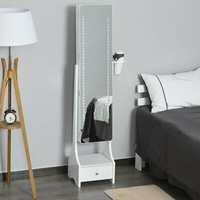 HOMCOM® LED Schmuckschrank 2 in 1 Schmuckregal Spiegelschrank mit Schublade Weiss
