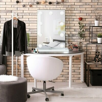 HOMCOM® Kosmetikspiegel mit 9 LED-Leuchten Schminkspiegel Tischspiegel mit Standfuss Aluminium