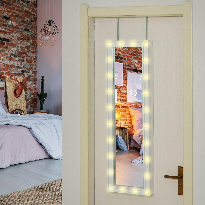 HOMCOM® LED Schmuckschrank Aufhängbarer 2 in 1 Spiegelschrank Schmuckregal an Tür Weiss