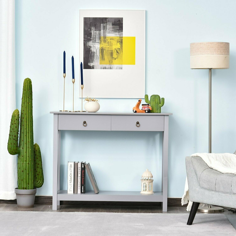 HOMCOM® Konsolentisch Beistelltisch mit 2 Schubladen Sideboard Eingang Massivholz Grau