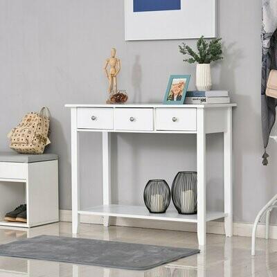 HOMCOM® Konsolentisch Beistelltisch mit 3 Schubladen Sideboard Eingang Massivholz