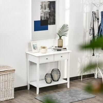 HOMCOM® Konsolentisch Beistelltisch mit 2 Schubladen Sideboard Eingang Massivholz Weiss