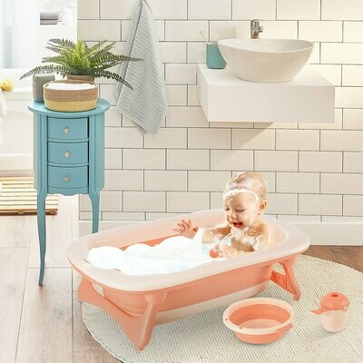 HOMCOM® Babybadewanne mit 3 Teilen Babywanne Badewanne Kunststoff Rosa