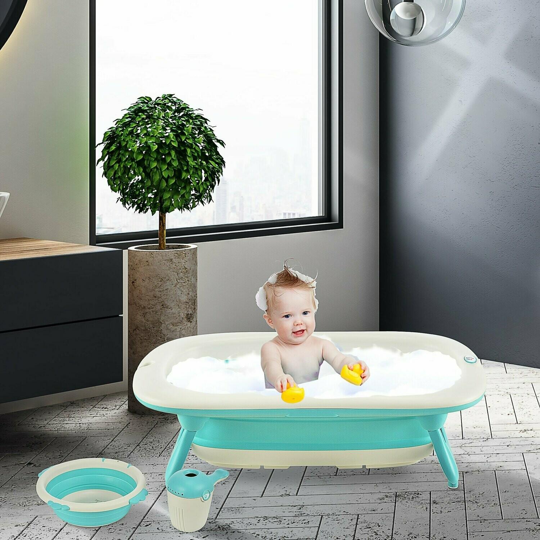 HOMCOM® Babybadewanne mit 3 Teilen Babywanne Badewanne Kunststoff Grün