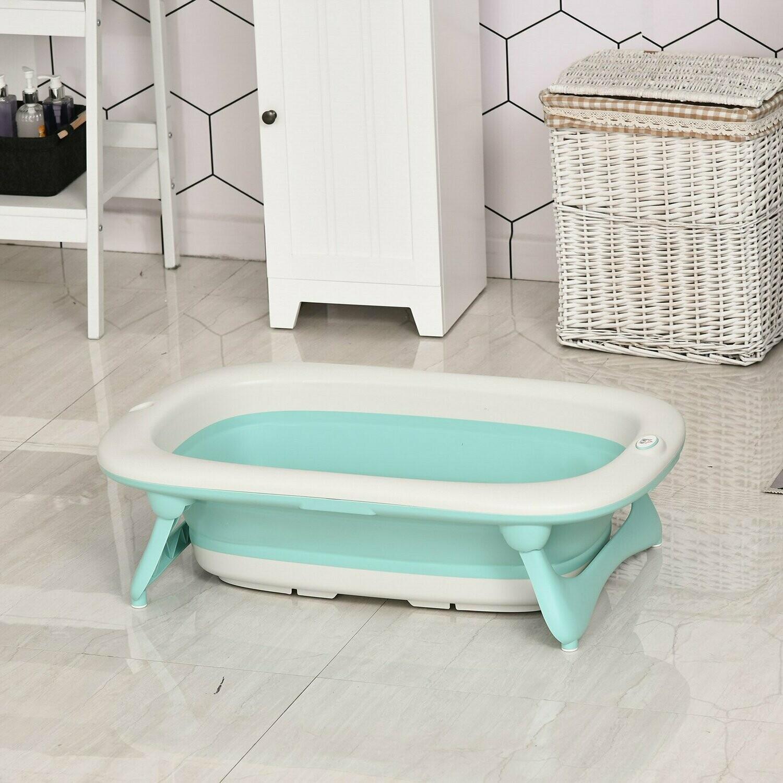 HOMCOM® Ergonomische Babybadewanne Babywanne Badewanne Kunststoff Grün