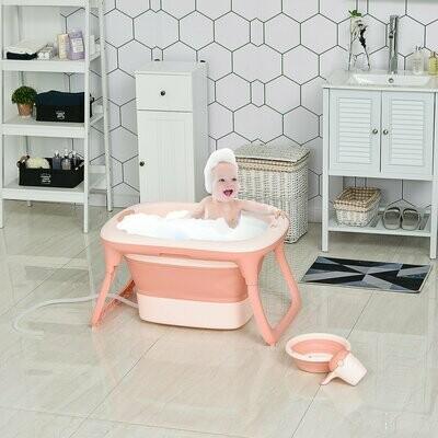 HOMCOM® Babybadewanne mit 4 Teilen Babywanne Badewanne Kunststoff Rosa