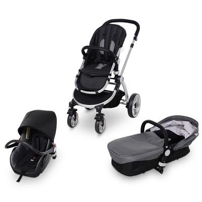 HOMCOM® Kinderwagen 3-in-1 Buggy Babyschale Babywanne Auto-Kindersitz 0-36 Monate Grau