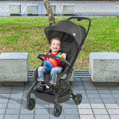 HOMCOM® Kinderwagen Faltbarer Buggy Babyschale Babywanne 0-36 Monate Grau