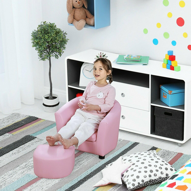 HOMCOM® Kindersessel Minisessel mit Fußhocker Kindersofa Mädchen für 3-6 Jahre