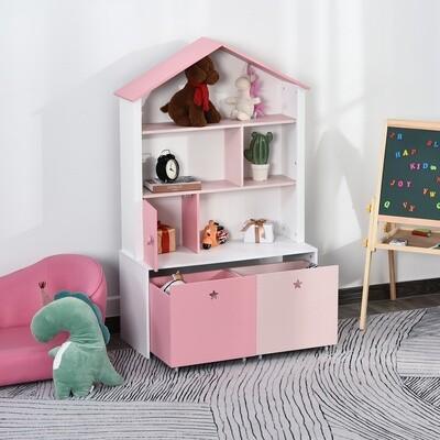 HOMCOM® Kinderregal Standregal Bücherregal Dekoregal für Mädchen 4 Fächer Rosa