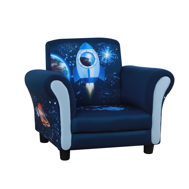 HOMCOM® Kindersofa Mini-Sofa-Sessel mit Holzstruktur Kunststoff rutschfeste Füsse Blau