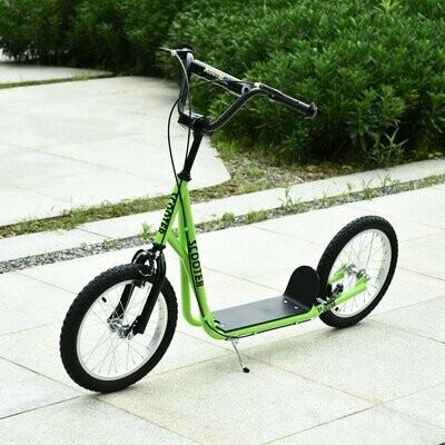 HOMCOM® Tretroller Scooter Cityroller Kinder Luftreifen Roller verstellbar Alu Grün