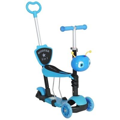 HOMCOM® 3 in 1 Kinderroller Scooter Tretroller Kinder Roller Kickboard Cityroller blau