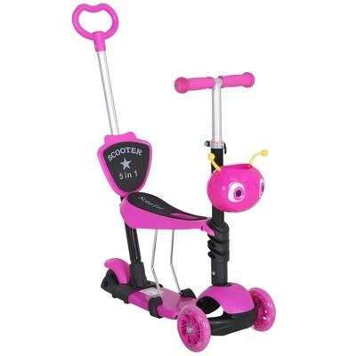 HOMCOM® 3 in 1 Kinderroller Scooter Tretroller Kinder Roller Kickboard Cityroller Rosa