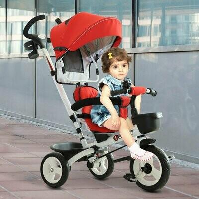 HOMCOM® 4-in-1 Kinderwagen Dreirad Buggy Aluminium Metall Kunststoff Rot