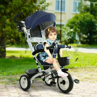 HOMCOM® 4-in-1 Kinderwagen Dreirad Buggy Aluminium Metall Kunststoff blau