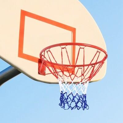 HOMCOM® Basketballkorb mit Netz Basketballnetz Stahlrohr+Nylon Rot+Blau+Weiß ø45 cm