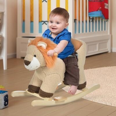 HOMCOM® Schaukeltier Löwe mit Löwengebrüll Schaukelpferd Haltegriffe Kinder Plüsch Braun