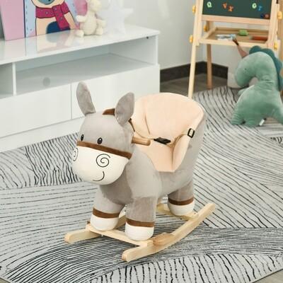 HOMCOM® Kinder Schaukelpferd Baby Schaukeltier Esel Spielzeug für 18-36 Monate Grau
