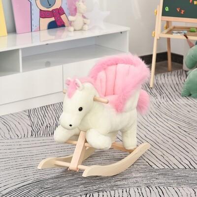 HOMCOM® Kinder Schaukelpferd Baby Schaukeltier Spielzeug Pferd für 18-36 Monate Weiss