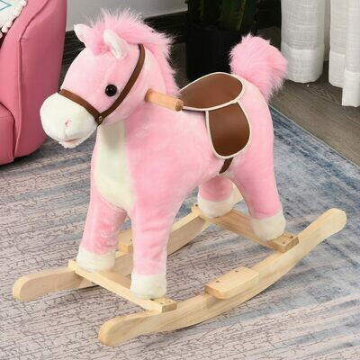 HOMCOM® Kinder Schaukelpferd Baby Schaukeltier Pferd Spielzeug für 36-72 Monate Rosa