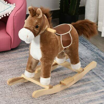 HOMCOM® Kinder Schaukelpferd Baby Schaukeltier Pferd Spielzeug für 36-72 Monate Plüsch