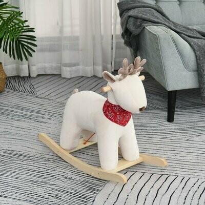HOMCOM® Kinder Schaukelpferd Baby Schaukeltier Hirsch Spielzeug für 36-72 Monate Weiss