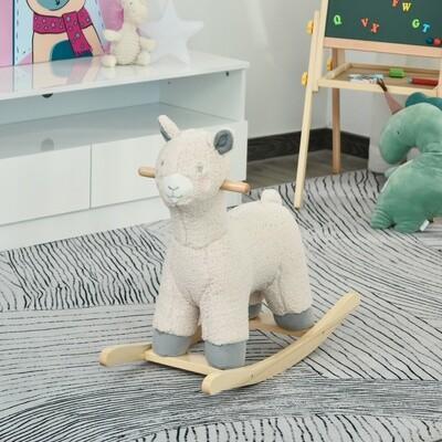 HOMCOM® Schaukeltier Schaf Schaukelpferd Haltegriffe Kinder Cremeweiss