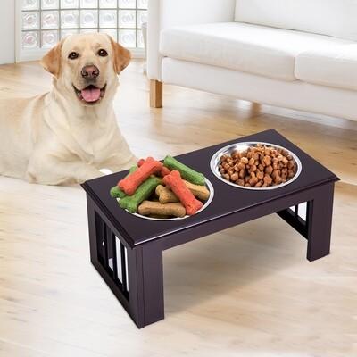 PawHut® Futternapf Futterschüssel Erhöhter Hundenapf 2 Näpfe Katzen Edelstahl MDF Kaffee