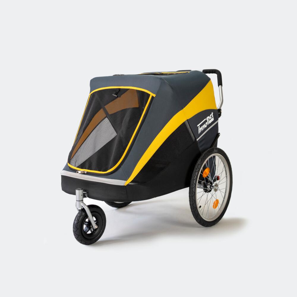 "InnoPet® Hundebuggy/Hundeanhänger ""Hercules"" grau/gelb mit Bike Set"