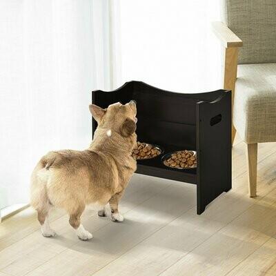 PawHut® Höhenverstellbarer Hunde Fressnapf Futterstation MDF Edelstahl Dunkelbraun