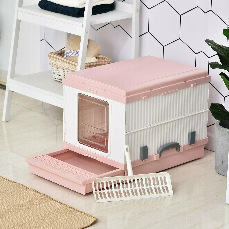 PawHut® Katzentoilette Katzenklo mit Auffangsschale Schaufel Zusammenklappbar ABS