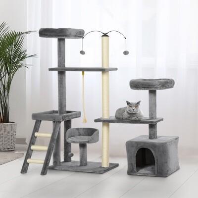PawHut® Kratzbaum Katzenbaum Kletterbaum für Katzen Mehrstufiges Dunkelgrau