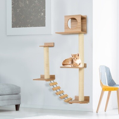 PawHut® Wandkratzbaum Katzenbaum Kletterbaum für Katzen Mehrstufiges mit Leiter Gelb