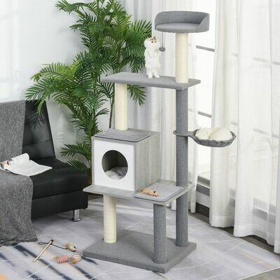 PawHut® Katzenbaum mit Kratzbaum, Kletterbaum mit Höhle und Liegeflächen Grau&Weiss