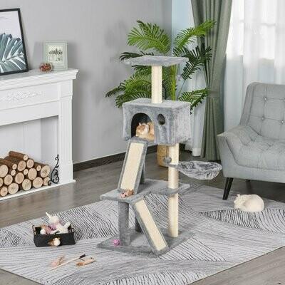 PawHut® Katzen Kratzbaum mit Sisalpfosten Kletterbaum für Katzen Grau