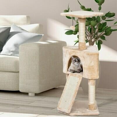 PawHut® Katzenbaum 3-Stock Kratzbaum Katzenhöhle Sisalsäule Kratzbrett Plüsch Beige