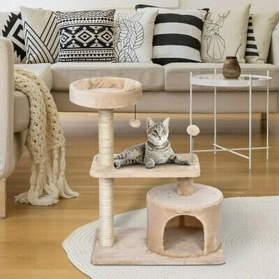 PawHut® Katzenbaum 3-Stock Kratzbaum Katzenhöhle mit Sisalsäulen Kratzbrett Plüsch Beige