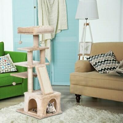 PawHut® Katzenbaum 5-Stock Kratzbaum Katzenhöhle Sisalsäule Kratzbrett Plüsch Beige
